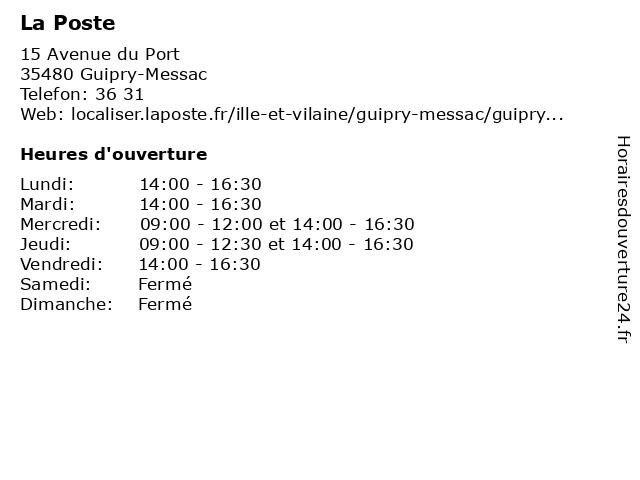 La Poste à Guipry-Messac: adresse et heures d'ouverture