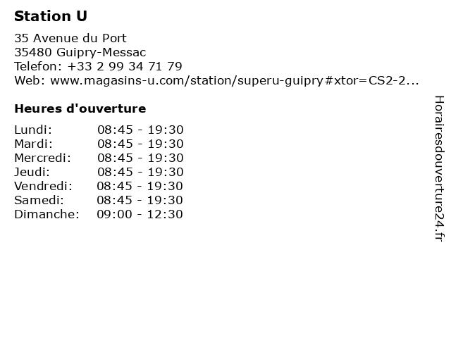 Station U à Guipry-Messac: adresse et heures d'ouverture