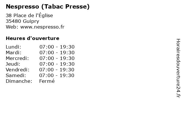 Nespresso (Tabac Presse) à Guipry: adresse et heures d'ouverture