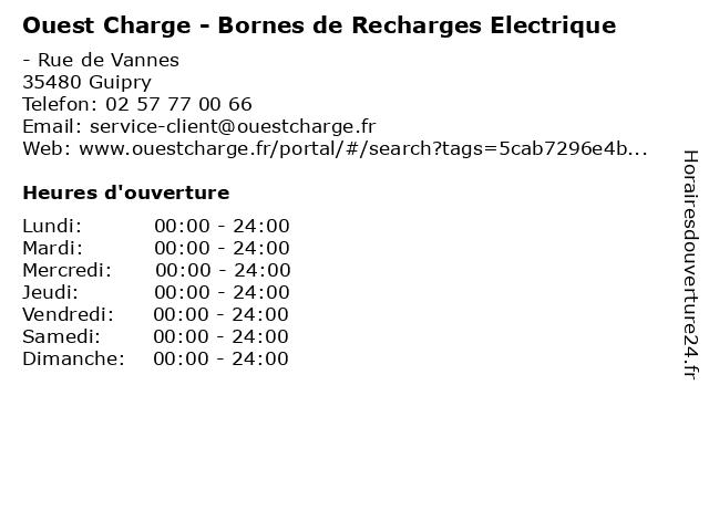 Ouest Charge - Bornes de Recharges Electrique à Guipry: adresse et heures d'ouverture