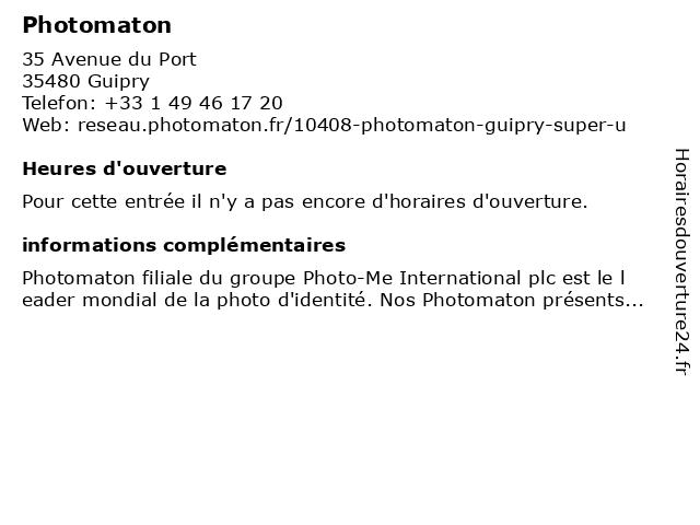 Photomaton à Guipry: adresse et heures d'ouverture