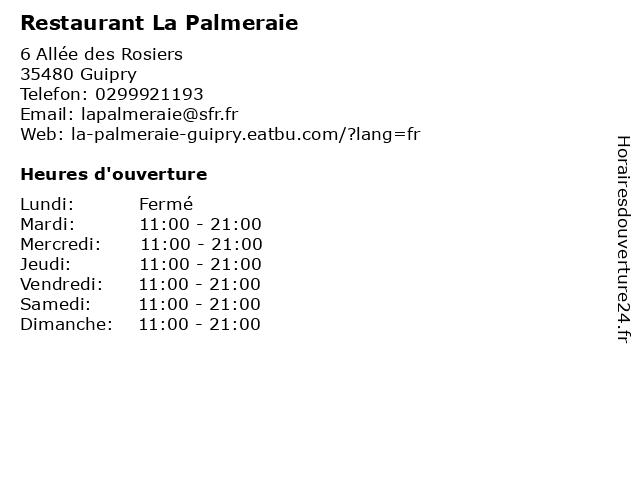 Restaurant La Palmeraie à Guipry: adresse et heures d'ouverture