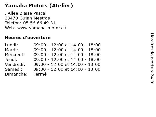 Yamaha Motors (Atelier) à Gujan Mestras: adresse et heures d'ouverture