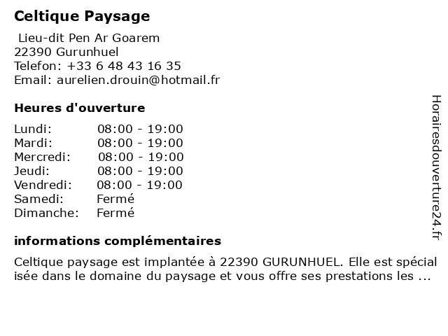 Celtique Paysage à Gurunhuel: adresse et heures d'ouverture