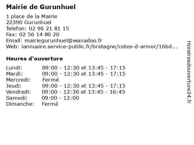 Mairie de Gurunhuel à Gurunhuel: adresse et heures d'ouverture