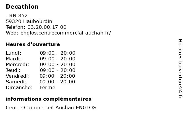 Decathlon à Haubourdin: adresse et heures d'ouverture
