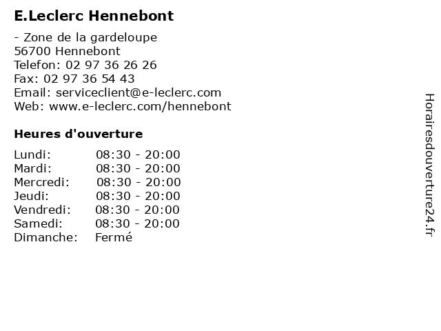 E.Leclerc Hennebont à Hennebont Cedex: adresse et heures d'ouverture