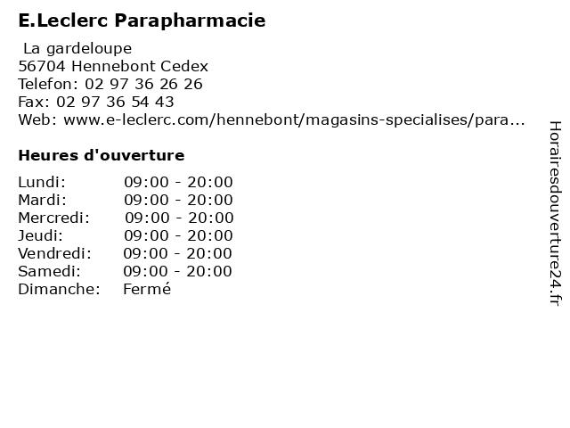 E.Leclerc Parapharmacie à Hennebont Cedex: adresse et heures d'ouverture