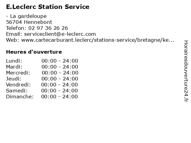 E.Leclerc Station Service à Hennebont Cedex: adresse et heures d'ouverture