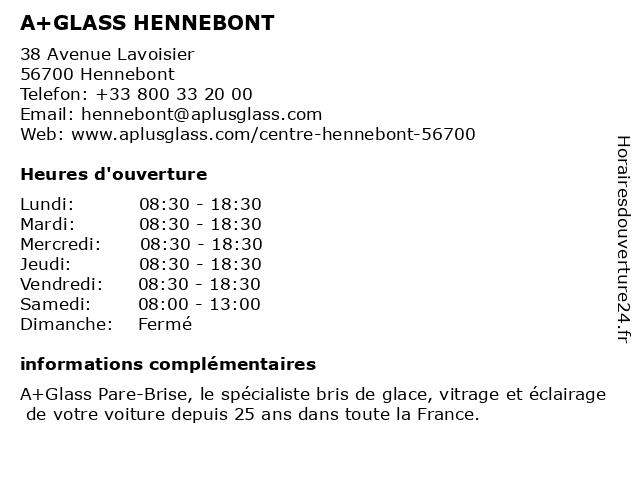 A+GLASS PARE BRISE HENNEBONT à Hennebont: adresse et heures d'ouverture