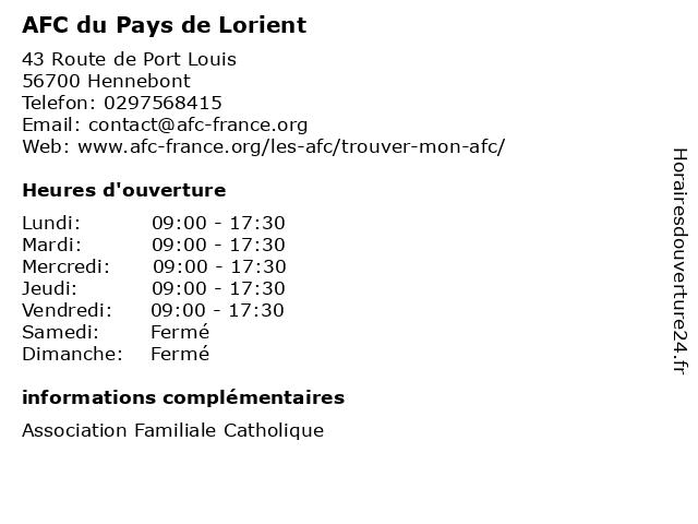 AFC du Pays de Lorient à Hennebont: adresse et heures d'ouverture