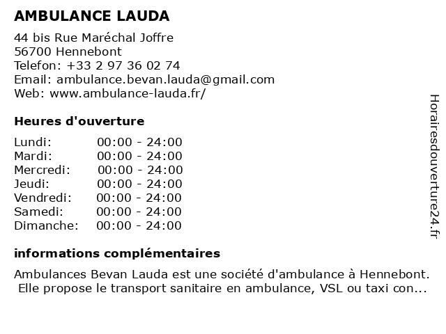 AMBULANCE LAUDA à Hennebont: adresse et heures d'ouverture