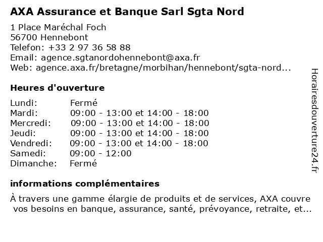 AXA Assurance CYRILLE BESNARD à Hennebont: adresse et heures d'ouverture