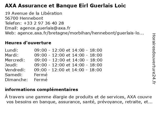 AXA Assurance EIRL GUERLAIS LOIC à Hennebont: adresse et heures d'ouverture