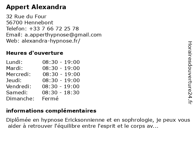 Appert Alexandra à Hennebont: adresse et heures d'ouverture