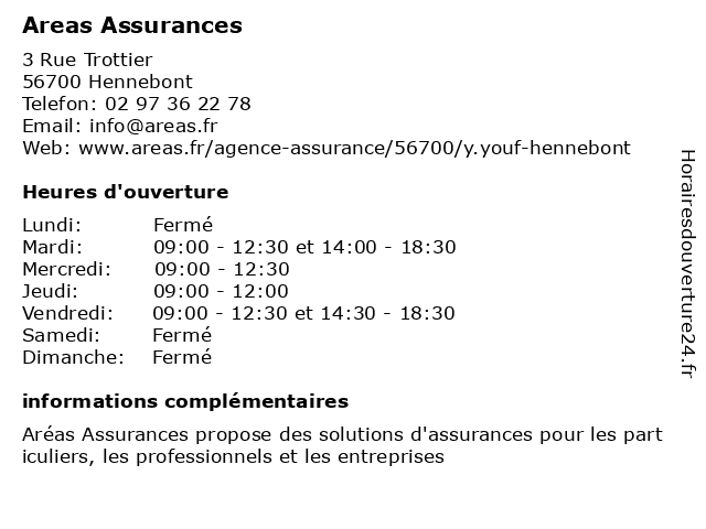 Areas Assurances à Hennebont: adresse et heures d'ouverture