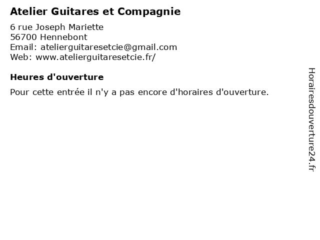 Atelier Guitares et Compagnie à Hennebont: adresse et heures d'ouverture