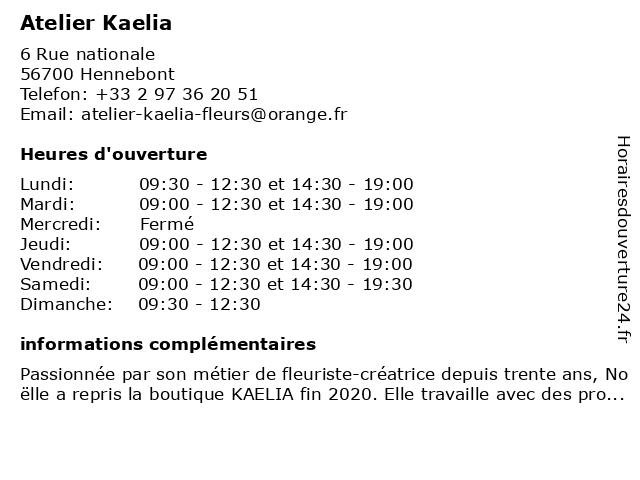 Atelier Kaelia SARL à Hennebont: adresse et heures d'ouverture