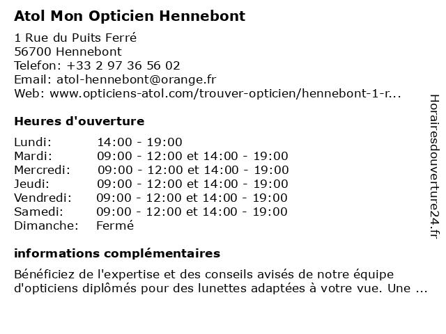 Atol Mon Opticien Hennebont à Hennebont: adresse et heures d'ouverture
