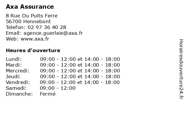 Axa Assurance à Hennebont: adresse et heures d'ouverture