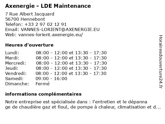 LDE MAINTENANCE - AXENERGIE à Hennebont: adresse et heures d'ouverture