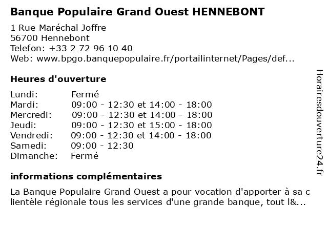Banque Populaire Grand Ouest HENNEBONT à Hennebont: adresse et heures d'ouverture