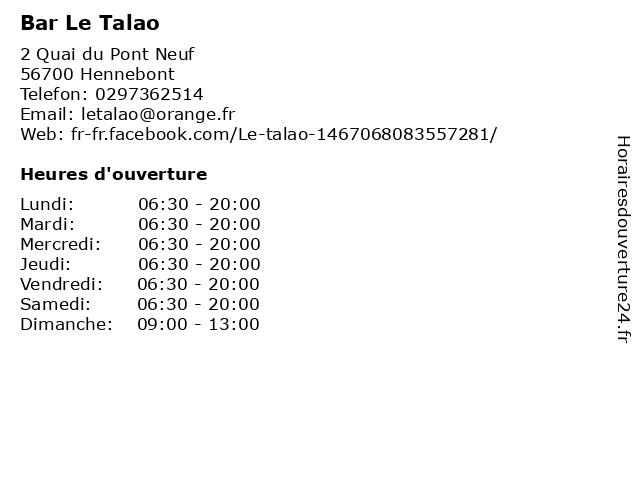 Bar Le Talao à Hennebont: adresse et heures d'ouverture