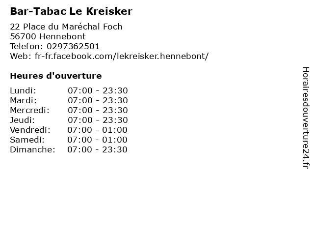 Bar-Tabac Le Kreisker à Hennebont: adresse et heures d'ouverture