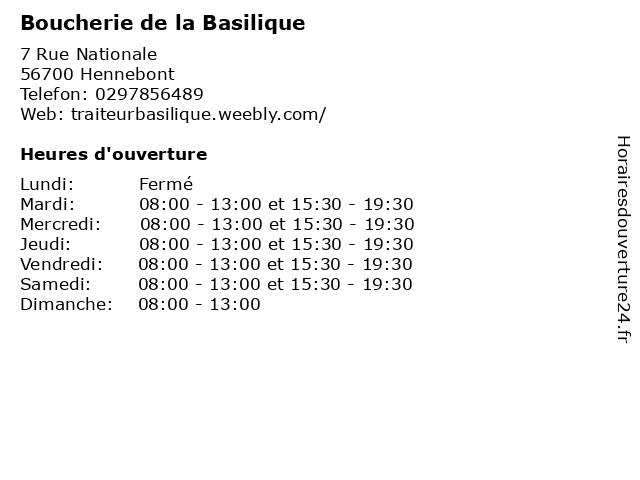 Boucherie de la Basilique à Hennebont: adresse et heures d'ouverture