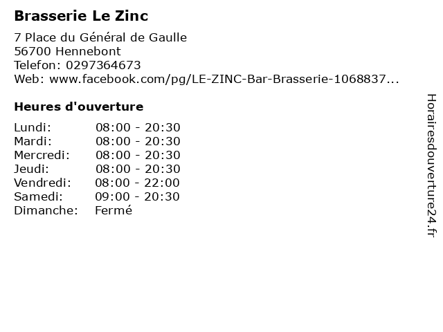 Brasserie Le Zinc à Hennebont: adresse et heures d'ouverture