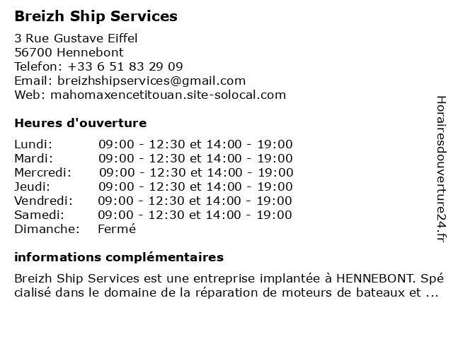 Breizh Ship Services à Hennebont: adresse et heures d'ouverture