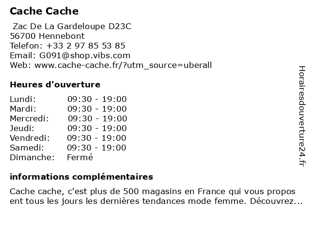 Cache Cache à Hennebont: adresse et heures d'ouverture