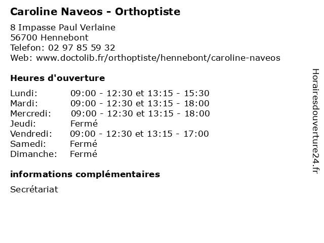 Caroline Naveos - Orthoptiste à Hennebont: adresse et heures d'ouverture