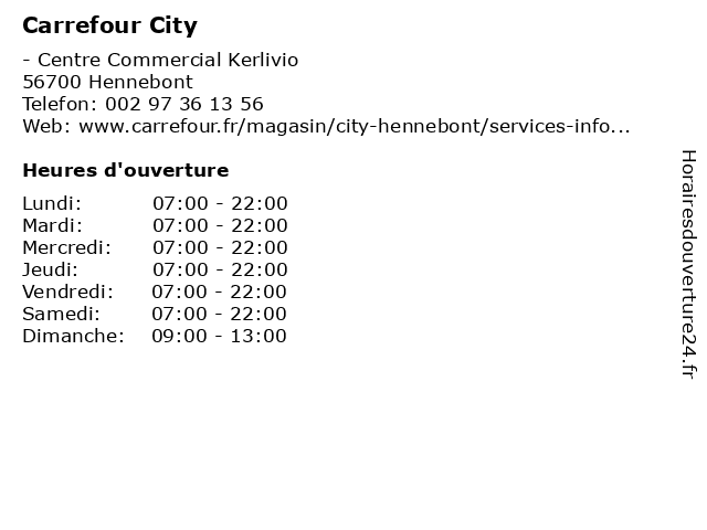 Carrefour City à Hennebont: adresse et heures d'ouverture