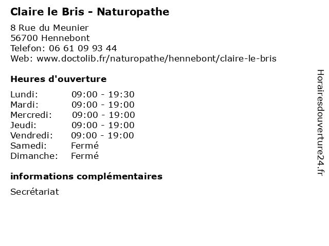 Claire le Bris - Naturopathe à Hennebont: adresse et heures d'ouverture