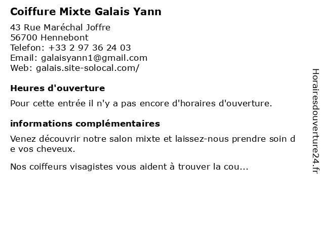 Coiffure Mixte Galais Yann à Hennebont: adresse et heures d'ouverture