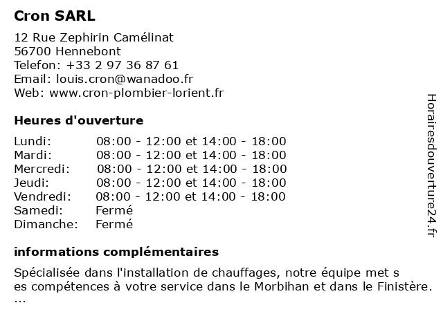 Cron SARL à Hennebont: adresse et heures d'ouverture