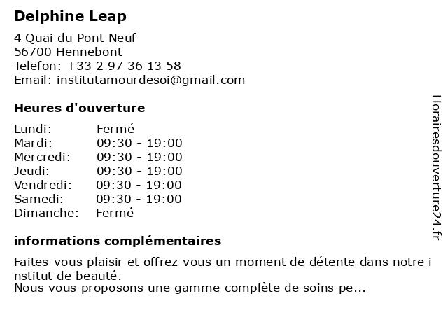 Delphine Leap à Hennebont: adresse et heures d'ouverture
