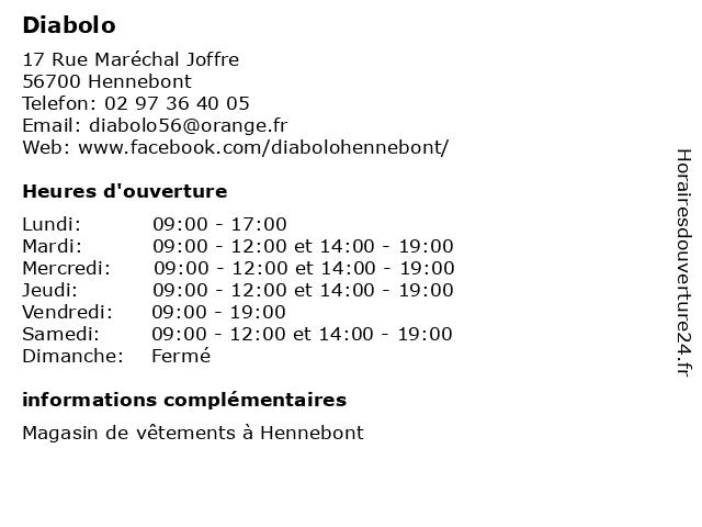 Diabolo à Hennebont: adresse et heures d'ouverture