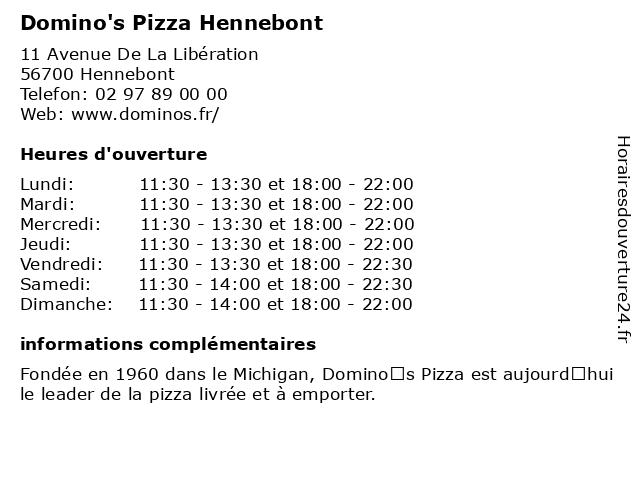 Domino's Pizza Hennebont à Hennebont: adresse et heures d'ouverture