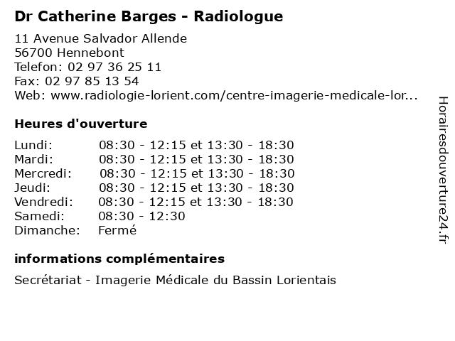 Dr Catherine Barges - Radiologue à Hennebont: adresse et heures d'ouverture
