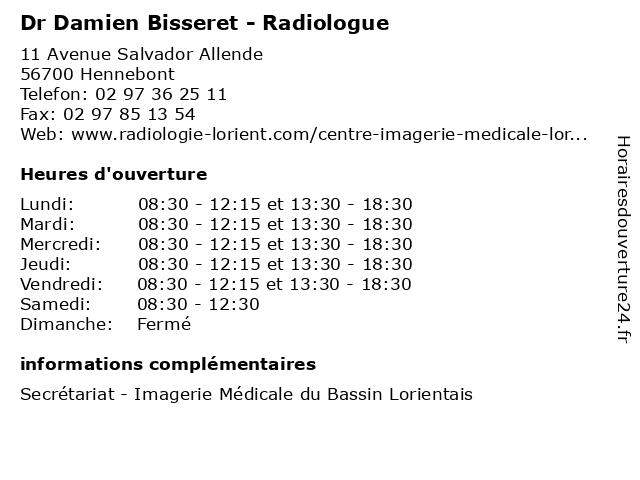 Dr Damien Bisseret - Radiologue à Hennebont: adresse et heures d'ouverture