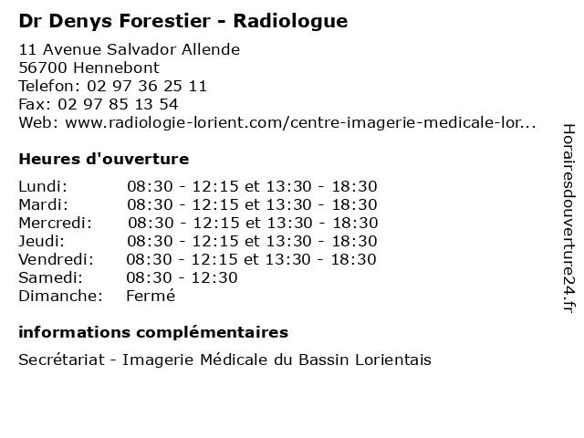 Dr Denys Forestier - Radiologue à Hennebont: adresse et heures d'ouverture