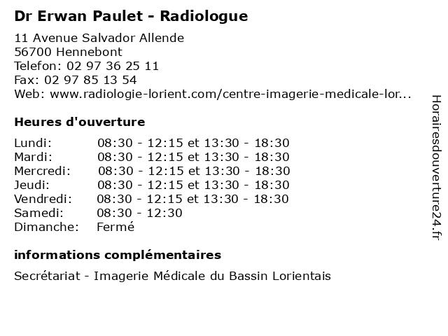 Dr Erwan Paulet - Radiologue à Hennebont: adresse et heures d'ouverture