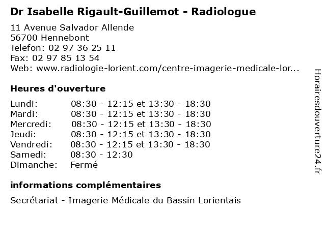 Dr Isabelle Rigault-Guillemot - Radiologue à Hennebont: adresse et heures d'ouverture