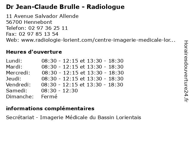 Dr Jean-Claude Brulle - Radiologue à Hennebont: adresse et heures d'ouverture