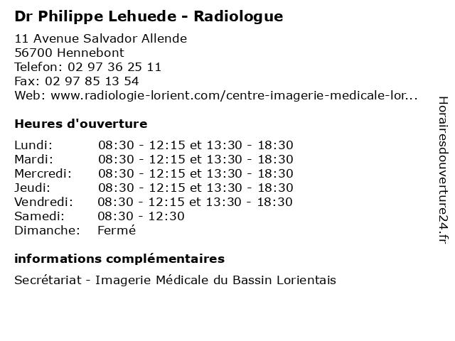 Dr Philippe Lehuede - Radiologue à Hennebont: adresse et heures d'ouverture
