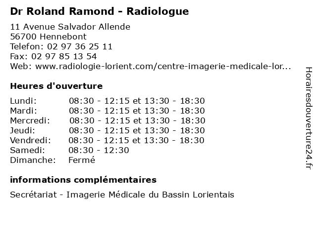Dr Roland Ramond - Radiologue à Hennebont: adresse et heures d'ouverture