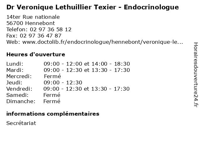 Dr Veronique Lethuillier Texier - Endocrinologue à Hennebont: adresse et heures d'ouverture