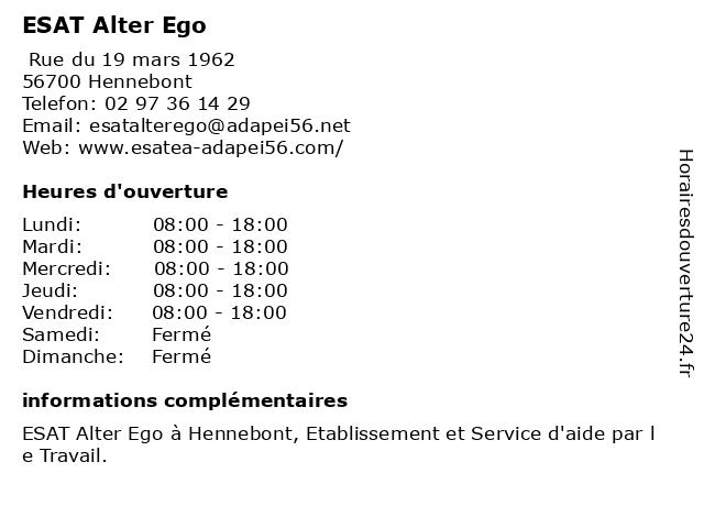 ESAT Alter Ego à Hennebont: adresse et heures d'ouverture